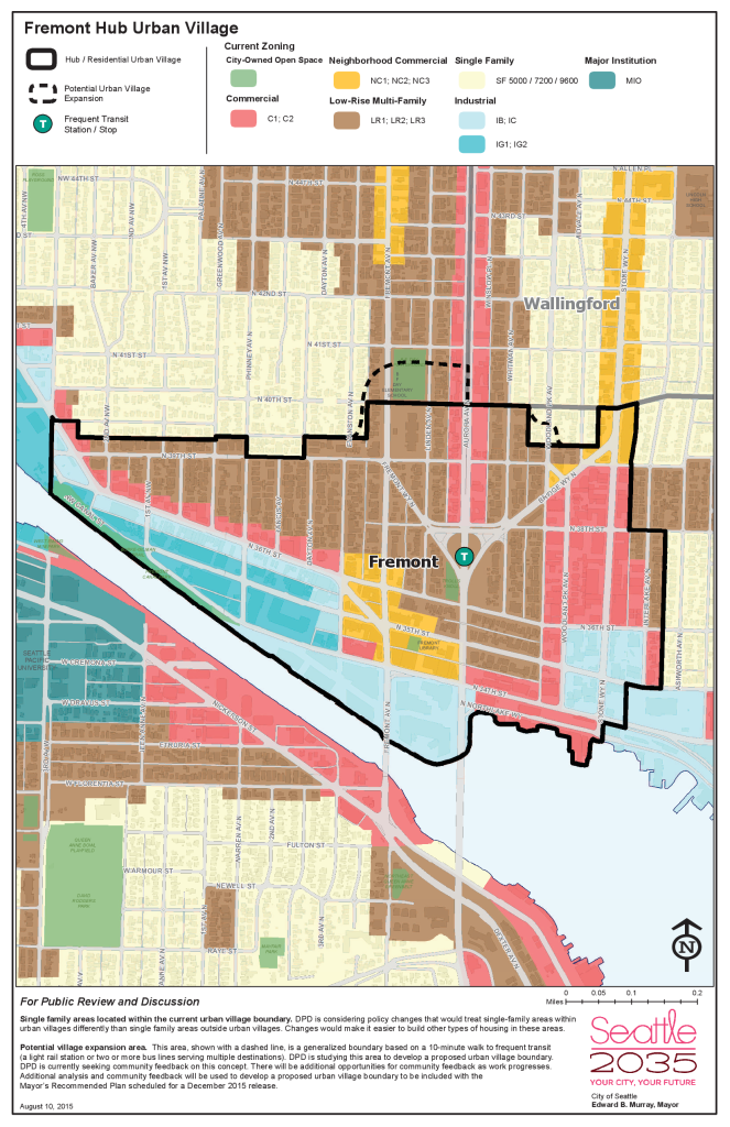Map of the Fremont Hub Urban Village