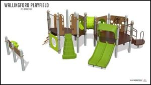 New play equipment in Wallingford Playfield for ages 2 to 5.