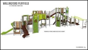 New play equipment in Wallingford Playfield for ages 5 to 12.
